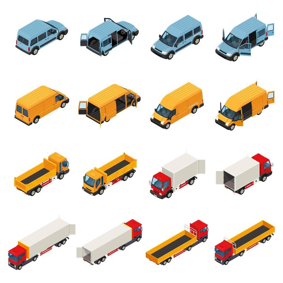 vrachtwagen isometrische set vector