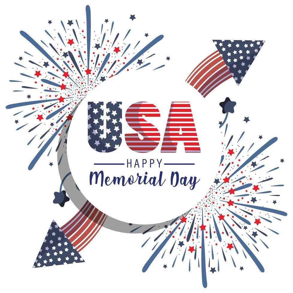 VS met sterren en vuurwerk van herdenkingsdag vector
