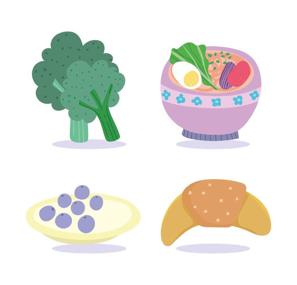 cake, broccoli, croissant en soep icon set vector