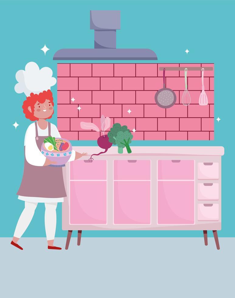 vrouwelijke chef-kok met groenten in kom cartoon vector