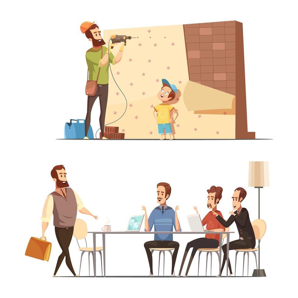 cartoon vaderschap concept vector