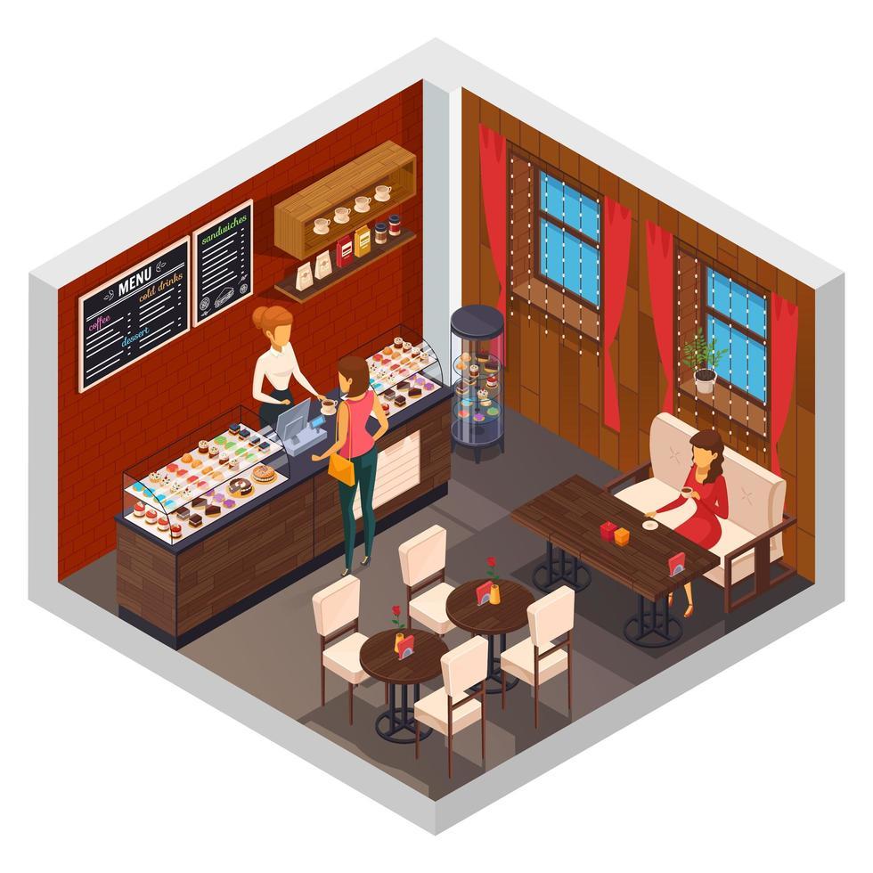 isometrische coffeeshop, bistro of restaurantinterieur vector