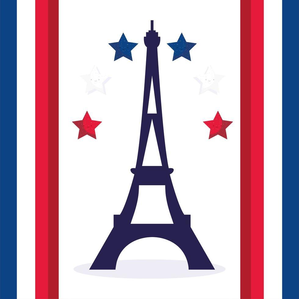 Eiffeltoren met sterren van gelukkige bastille-dag vector