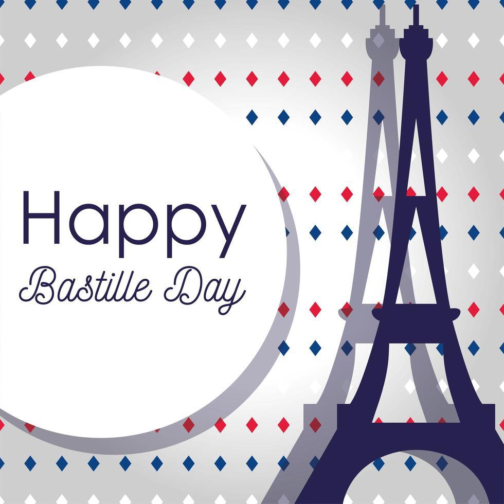 Eiffeltoren en cirkel van gelukkige bastille-dag vector