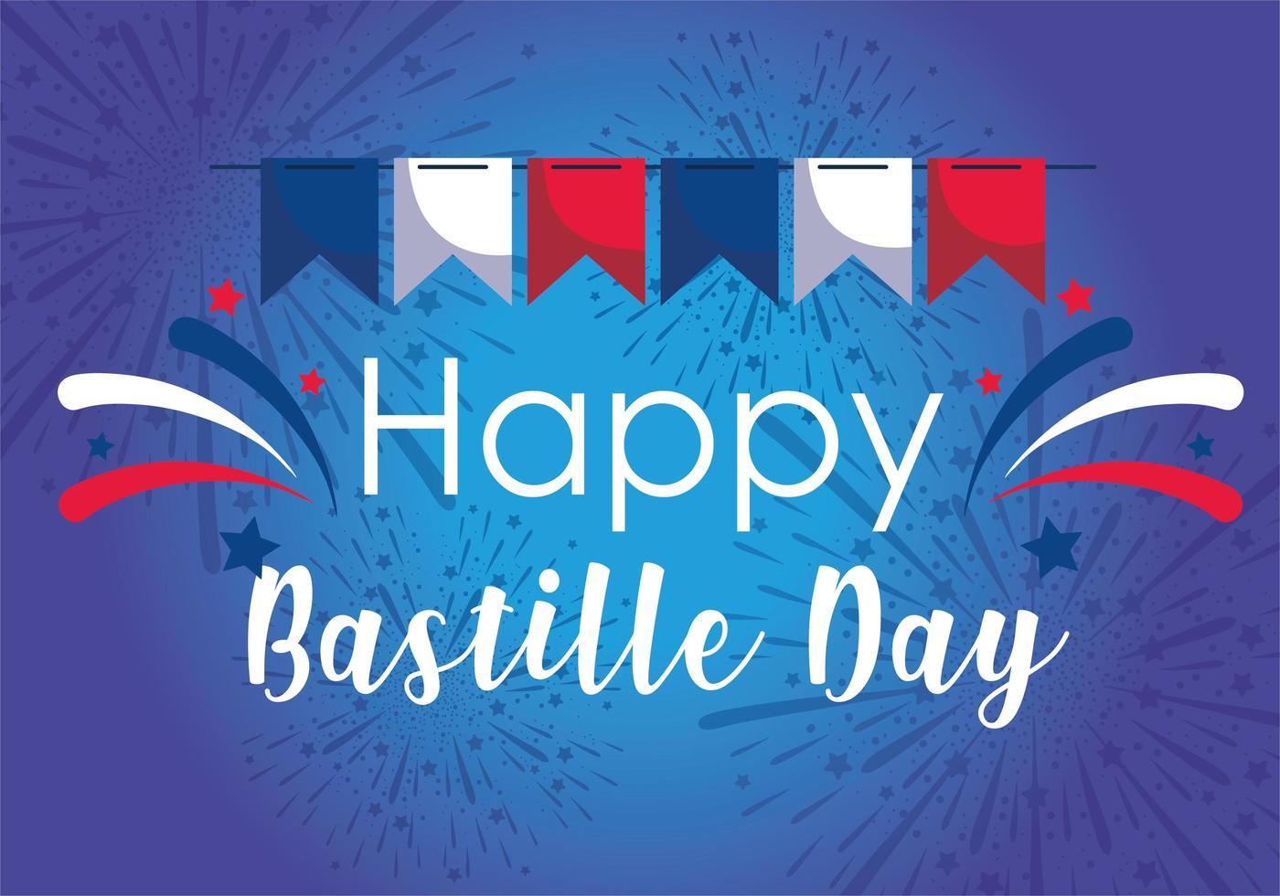 banner wimpel van gelukkige bastille dag vector