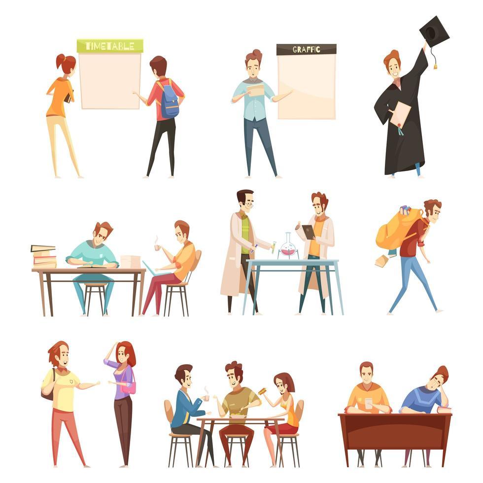 studenten instellen retro cartoon vector