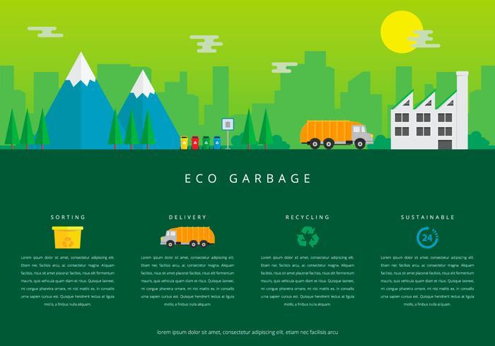 Landfill Trash en Template Recycle Infographics vector