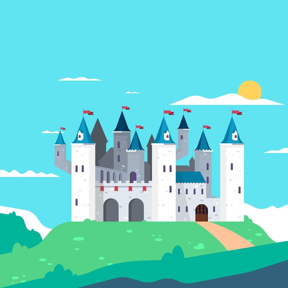 sprookjesachtige toren vlakke stijl ontwerp vector