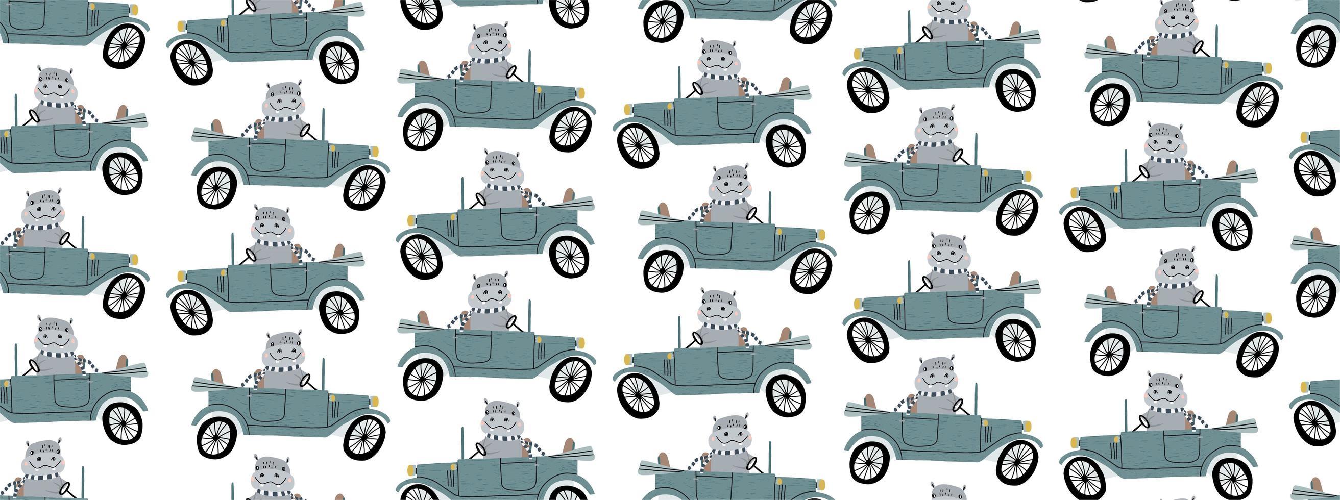 schattige nijlpaard die een retro auto naadloos patroon drijft vector