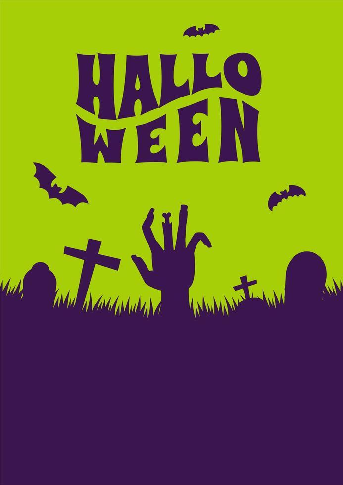 halloween poster met zombie hand kerkhof silhouet vector