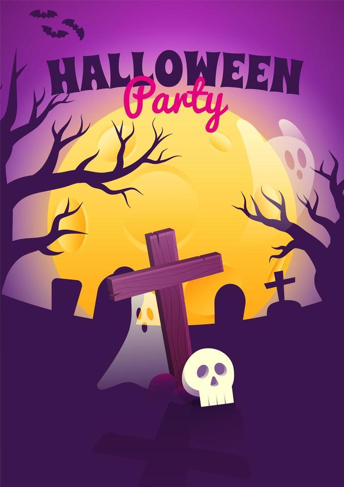 halloween-poster met griezelige begraafplaats 's nachts vector
