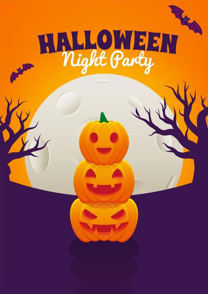 halloween-poster met gestapelde jack o-lantaarns vector
