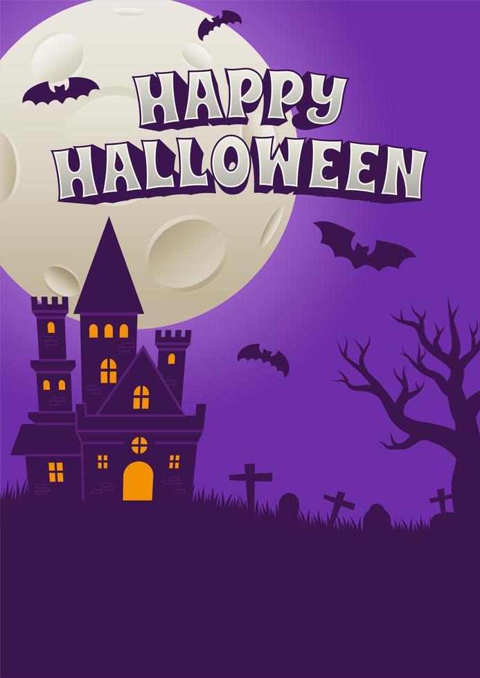 happy halloween-poster met griezelig kasteel vector
