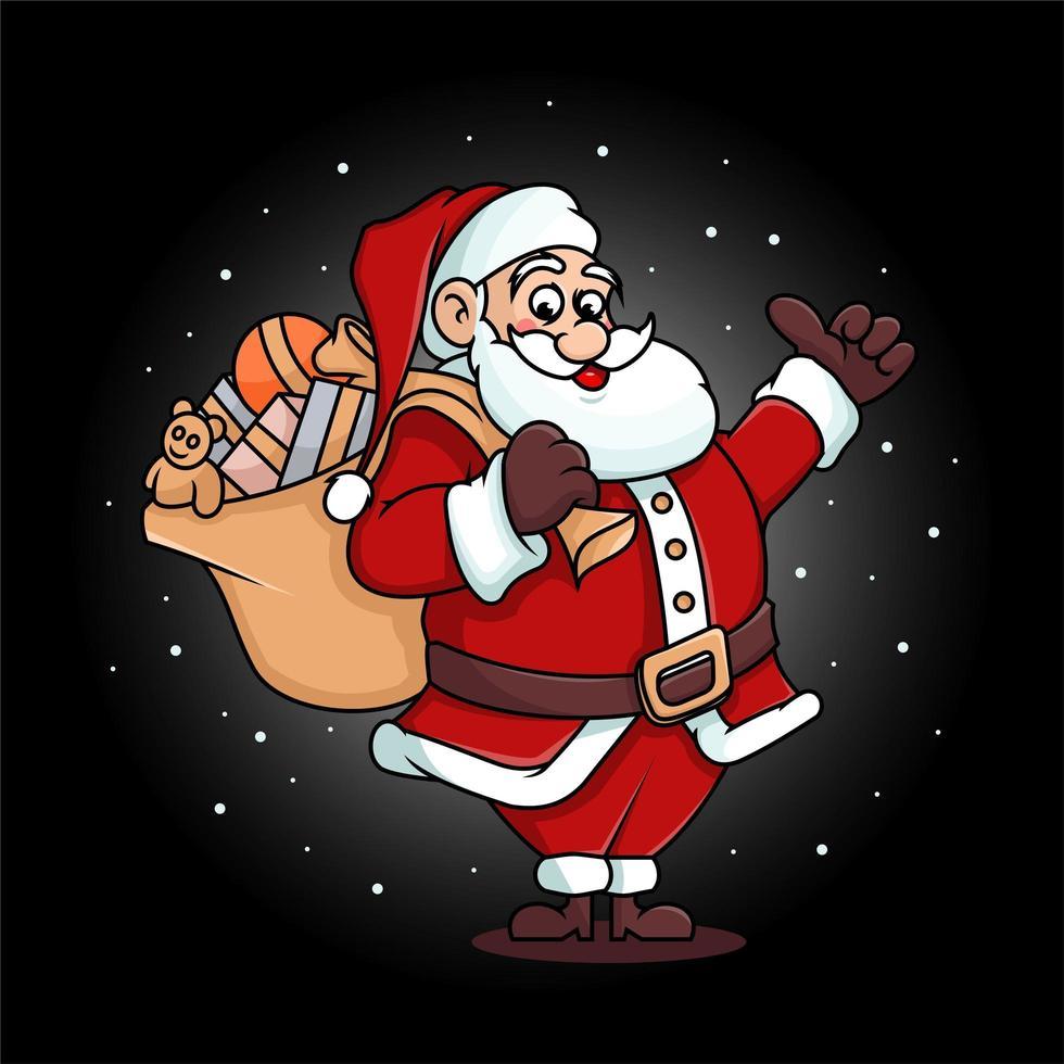schattige kerstman met speelgoedzak vector