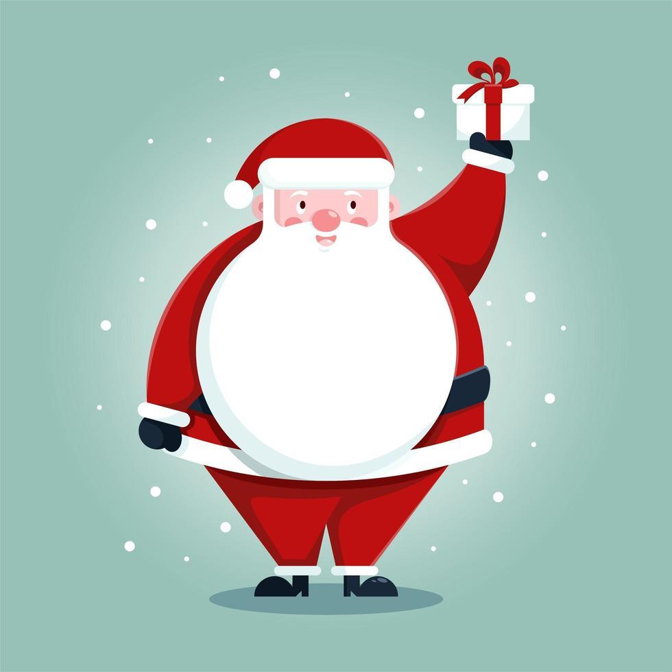 schattige kerstman met geschenkdoos cartoon vector