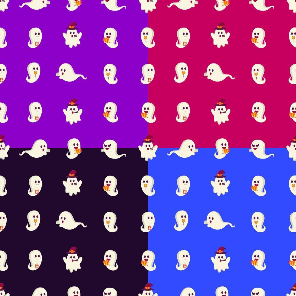 kleurrijke geest halloween naadloze patroon vector