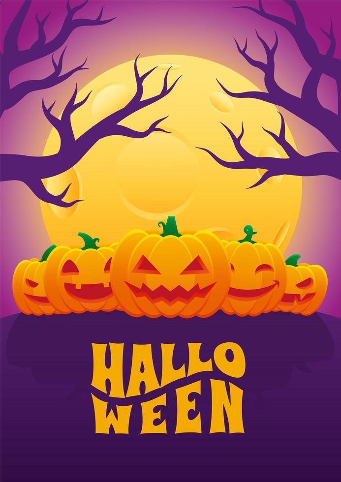 halloween-poster met vijf jack o-lantaarns vector