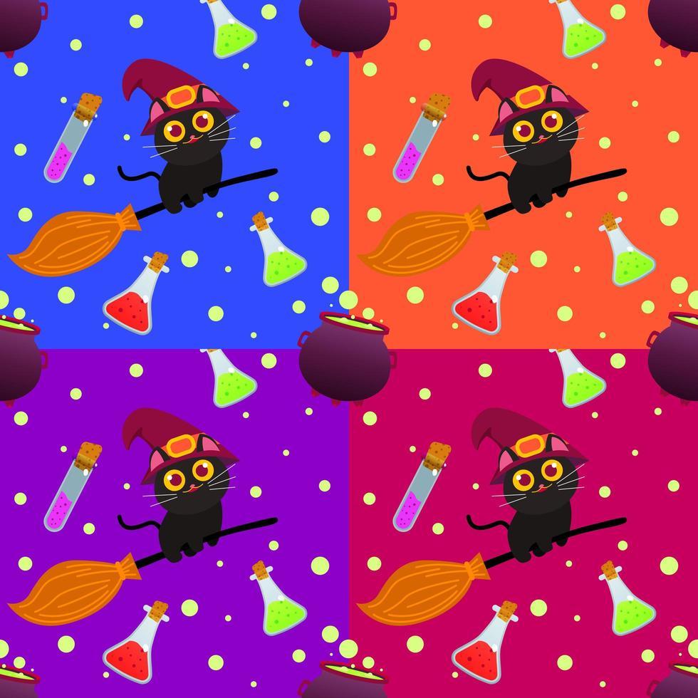 halloween naadloze patroon met kat op bezemsteel vector