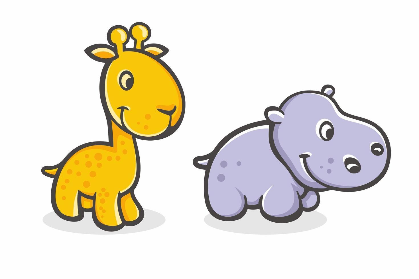 set van schattige cartoon baby giraffe en nijlpaard vector