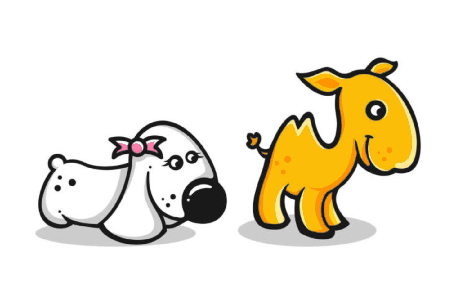 set van schattige cartoon babyhonden en kamelen vector