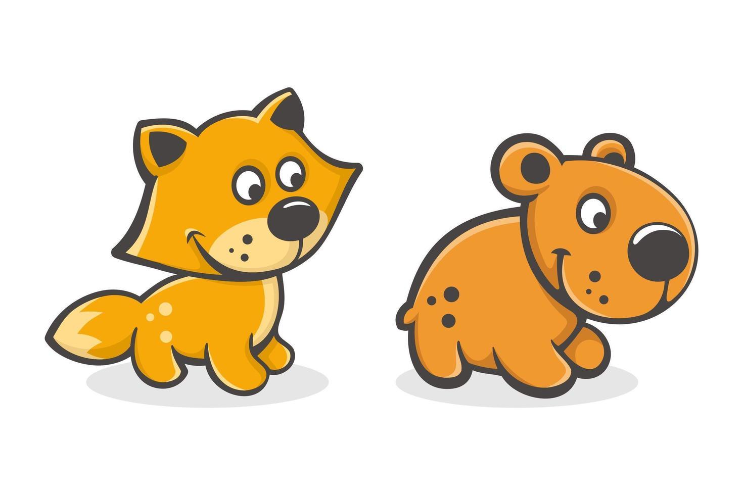 set van schattige cartoon baby vos en beer vector