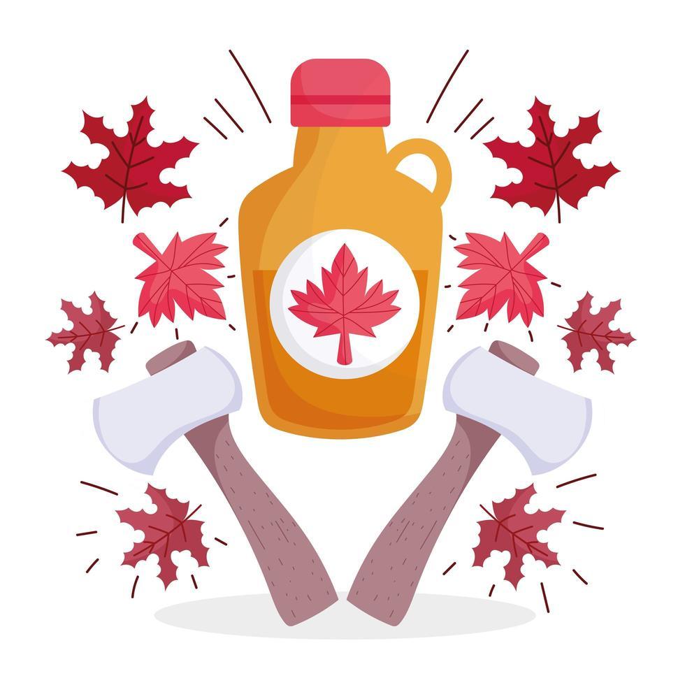 canadese ahornsiroop, bladeren en bijlen vector