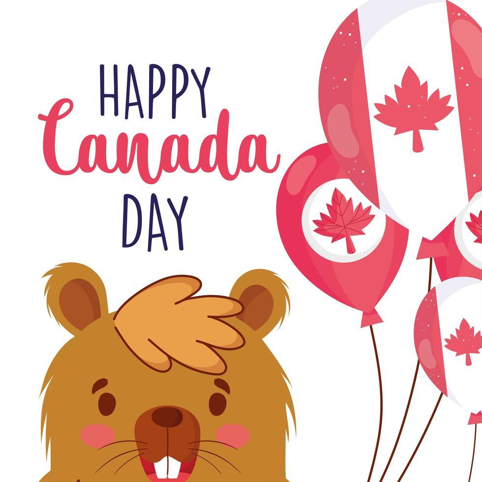 bever met Canadese ballonnen voor happy canada day vector