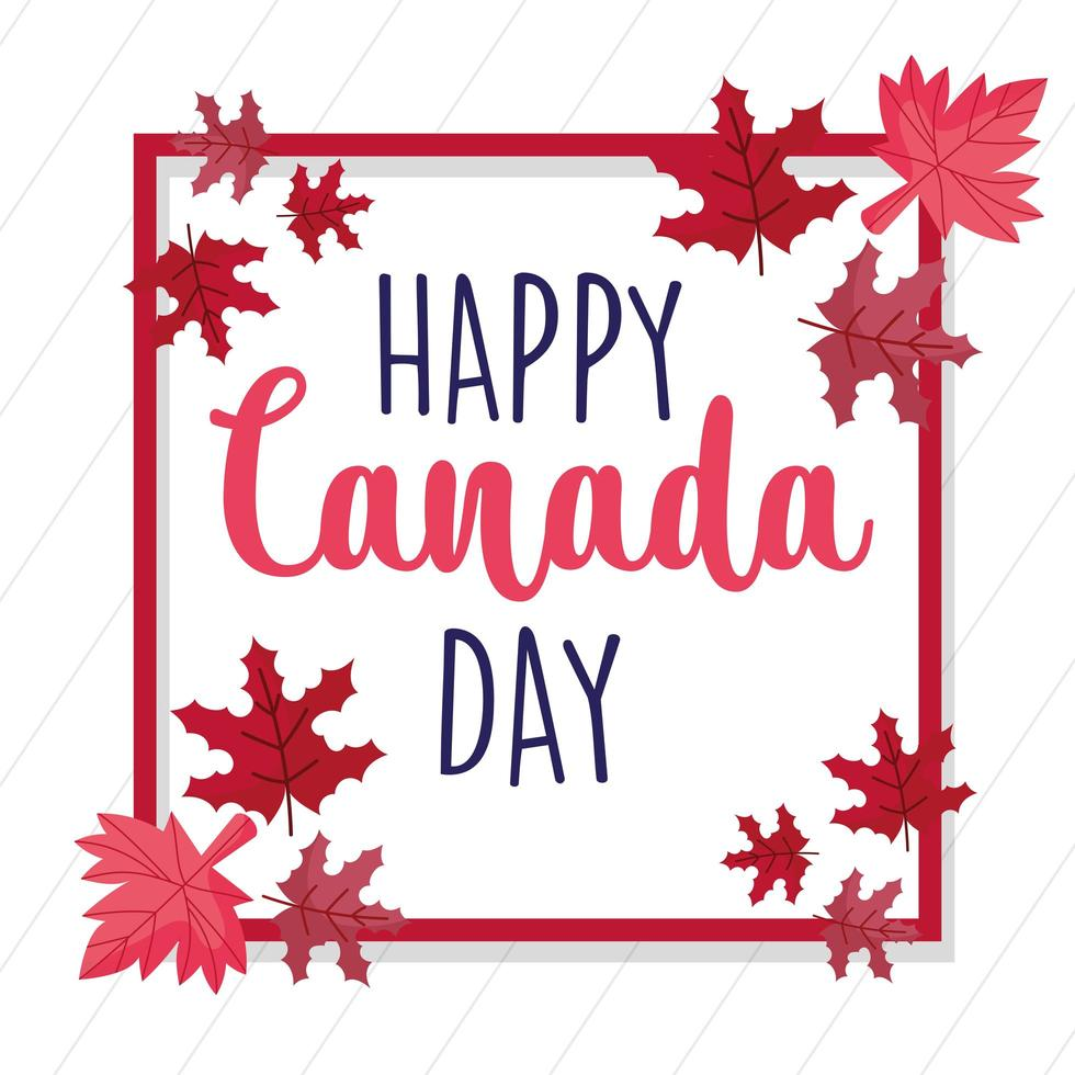 Canadese esdoorn verlaat frame voor gelukkige dag van Canada vector