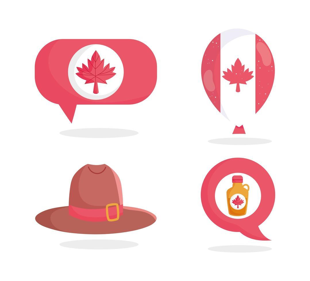 hoed, ahornsiroop, blad, ballon en spraakballon vector