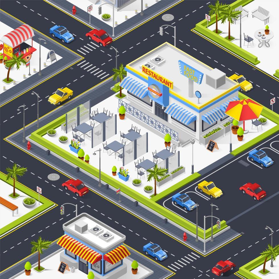 isometrische bovenaanzicht van een kleurrijke stad vector