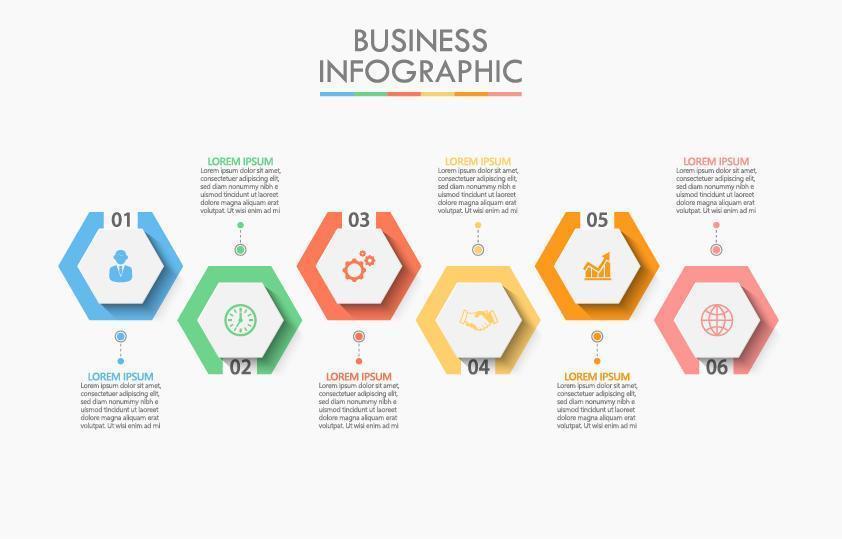 infographic met zeshoekige ontwerpen vector