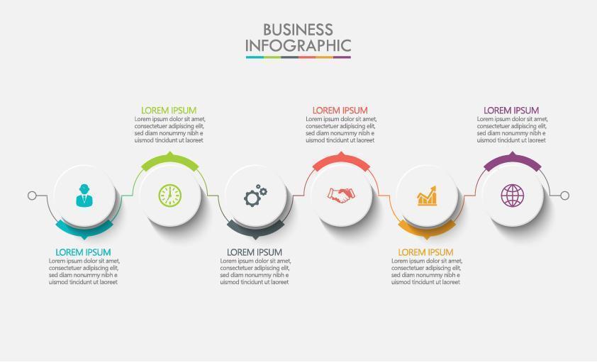 infographic met 6 ronde pictogramontwerp vector