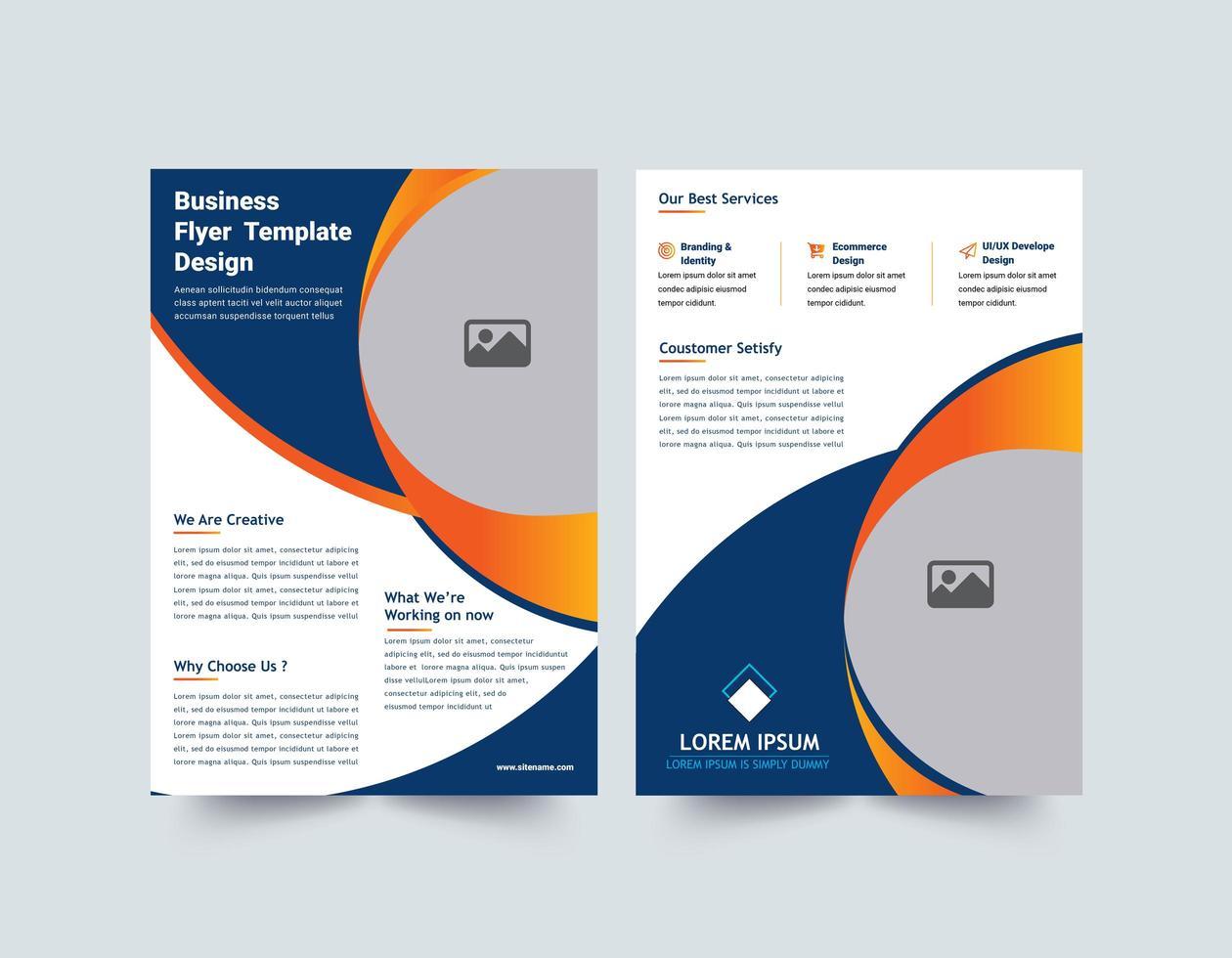 moderne blauwe en oranje flyer-sjabloon vector