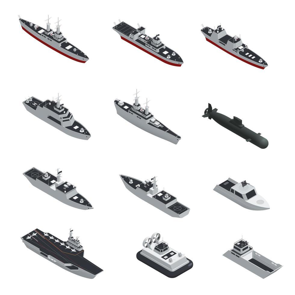 isometrische militaire schip set vector