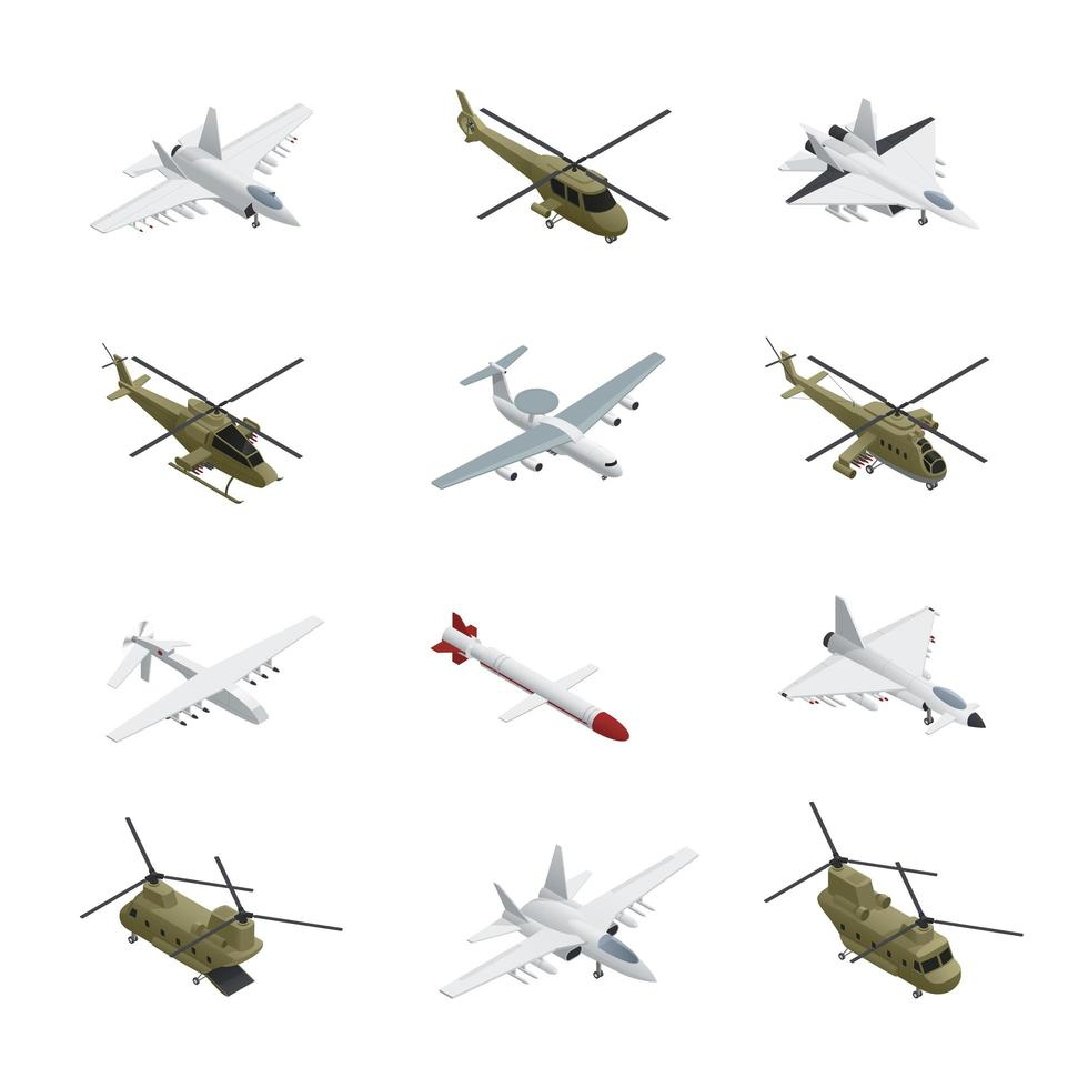 isometrische militaire vliegtuigen set vector