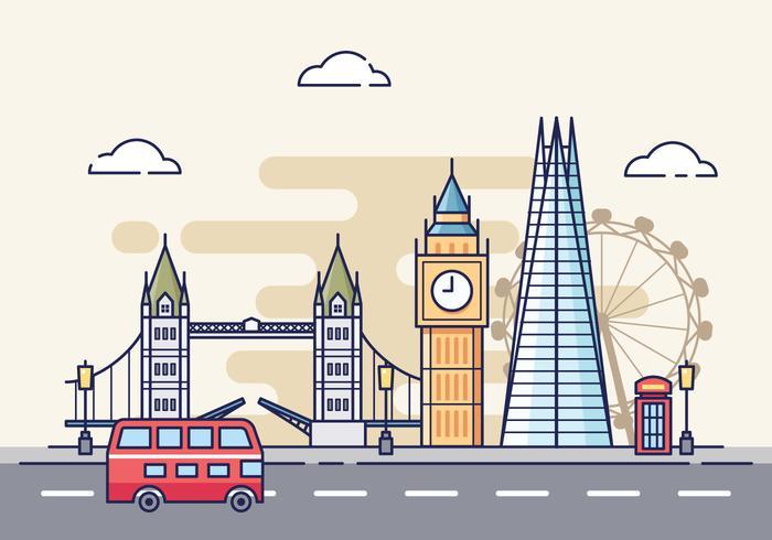Gratis Londen Cityscape Illustratie vector