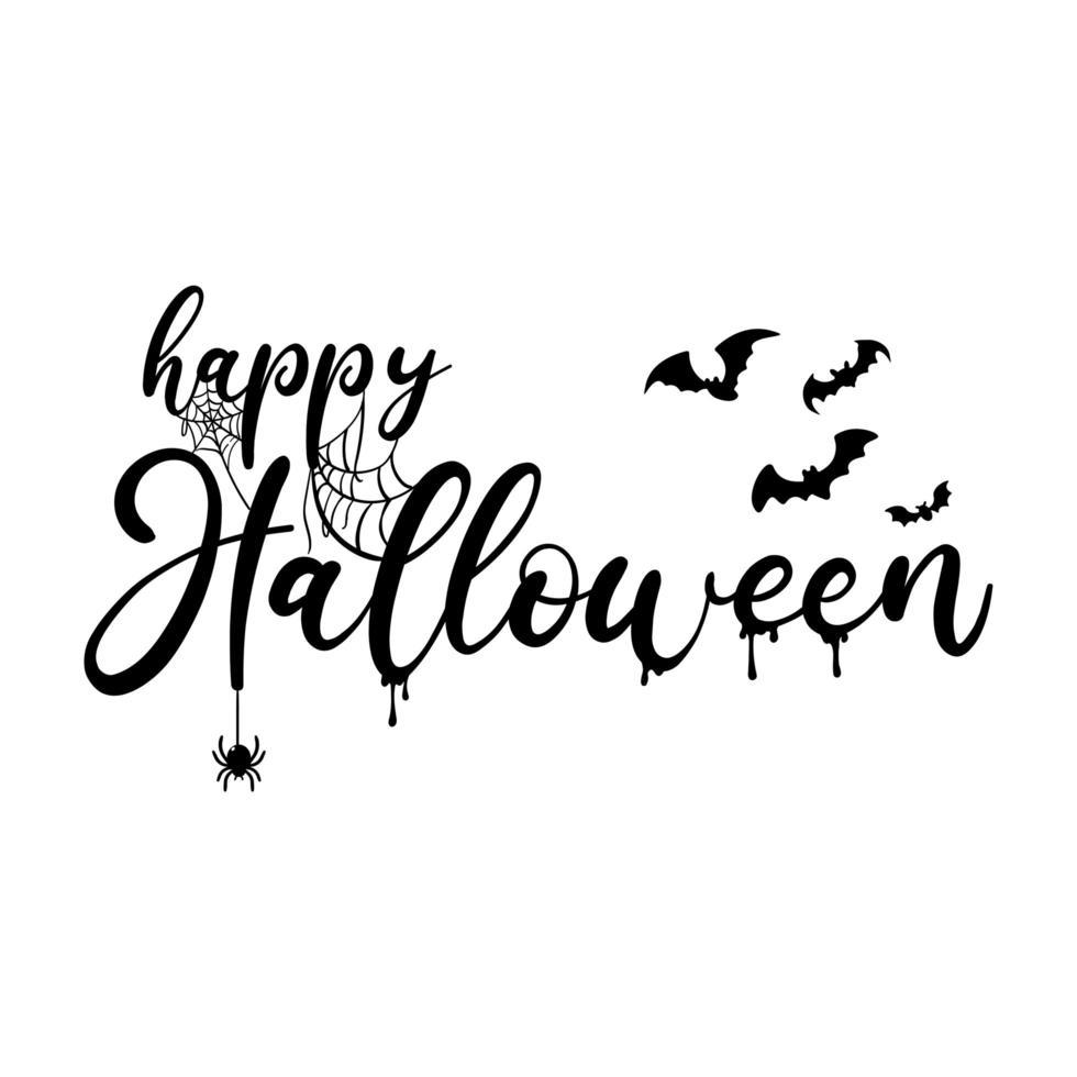 happy halloween font design met spinnenwebben, vleermuizen vector