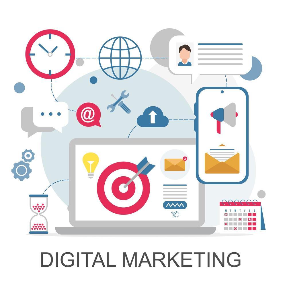 digitale marketingpictogrammen voor web- en mobiele services, apps vector