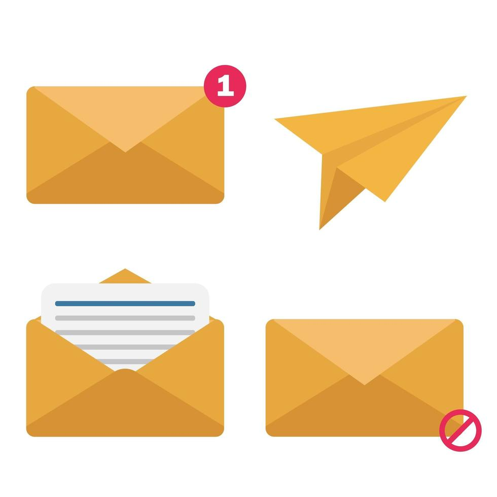 vlakke stijl envelop pictogramserie vector
