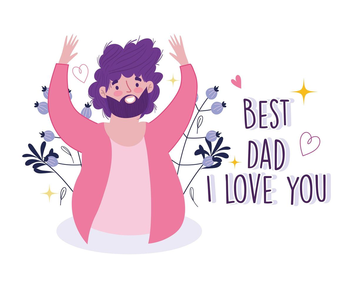 gelukkige vaderdag. vrolijke bebaarde papa kaart vector
