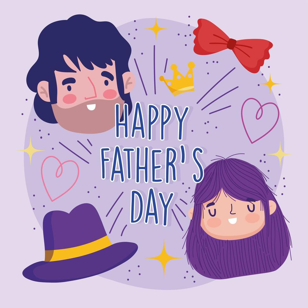 kaart met vader, dochter, hoed en vlinderdas vector