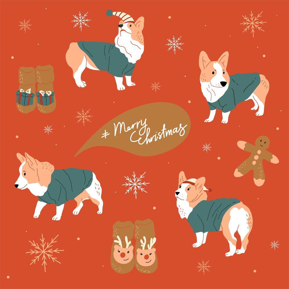 prettige kerstdagen en gelukkig nieuwjaar schattige honden vector
