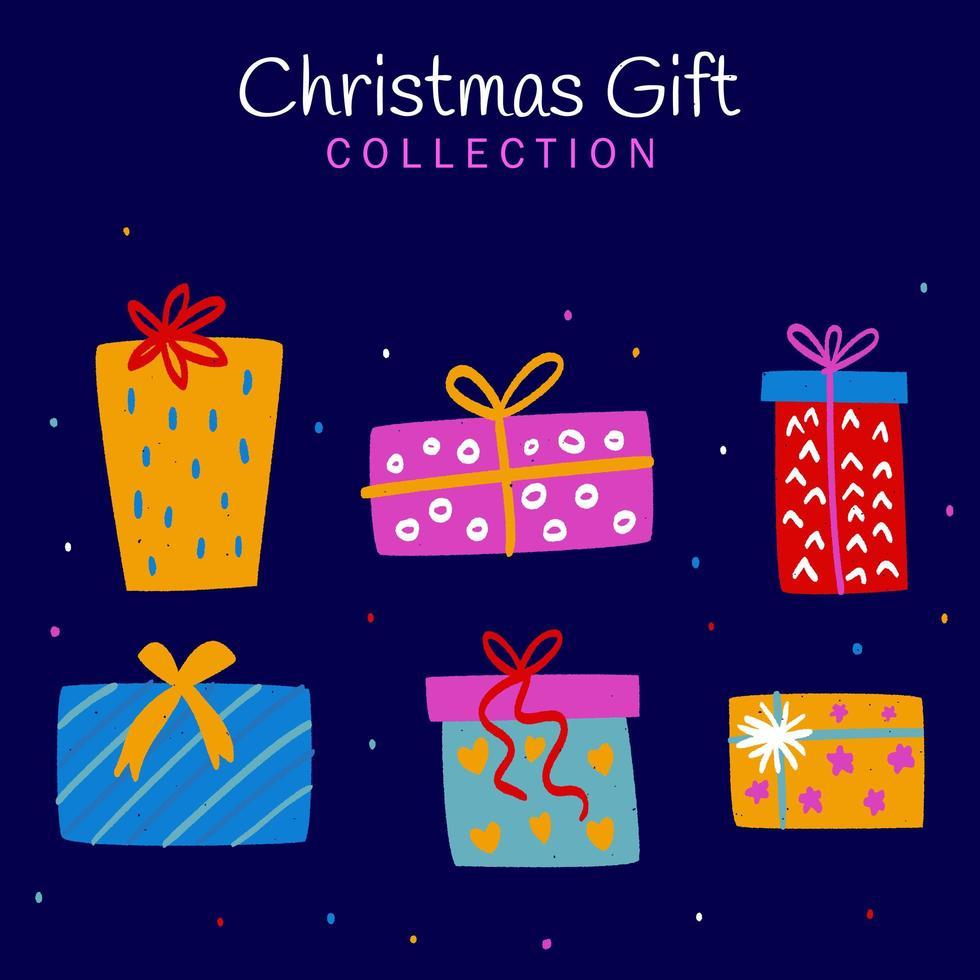 hand getekend kerstcadeau collectie vector