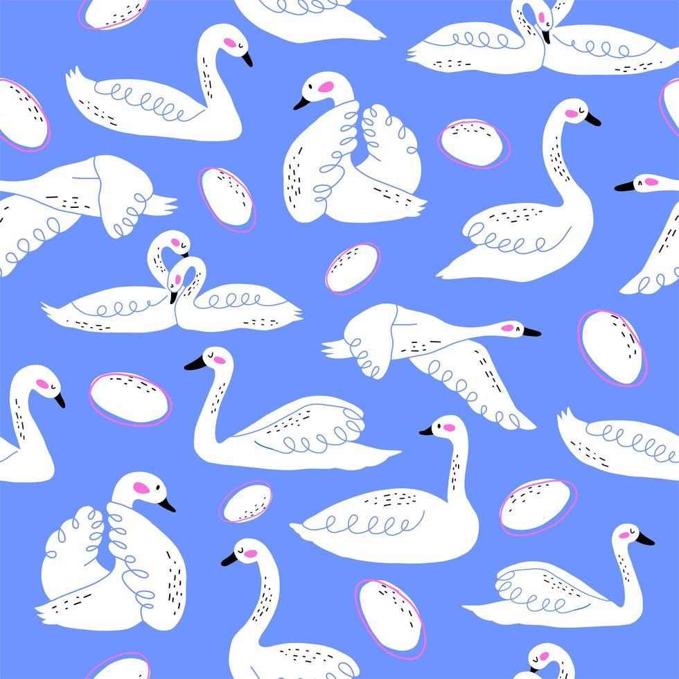 zwaan en ei doodles naadloze patroon vector