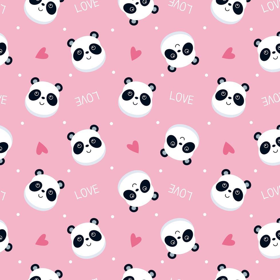 roze panda gezicht patroon vector