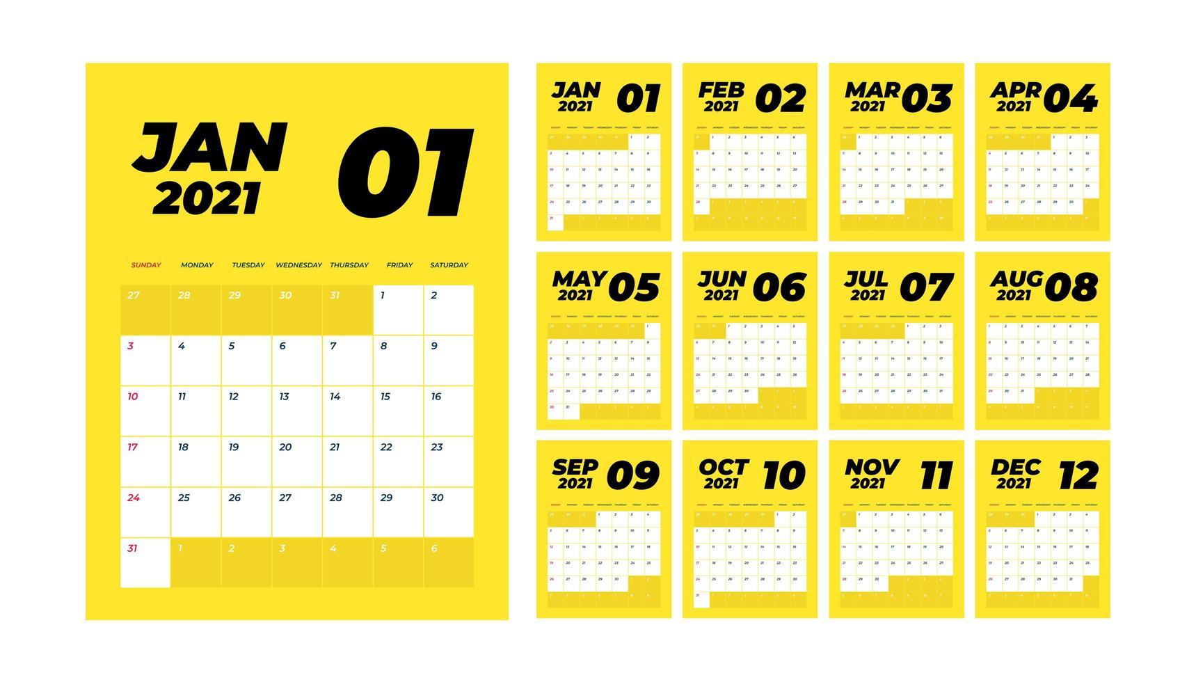 jaar 2021 maandelijkse bureaukalender vector
