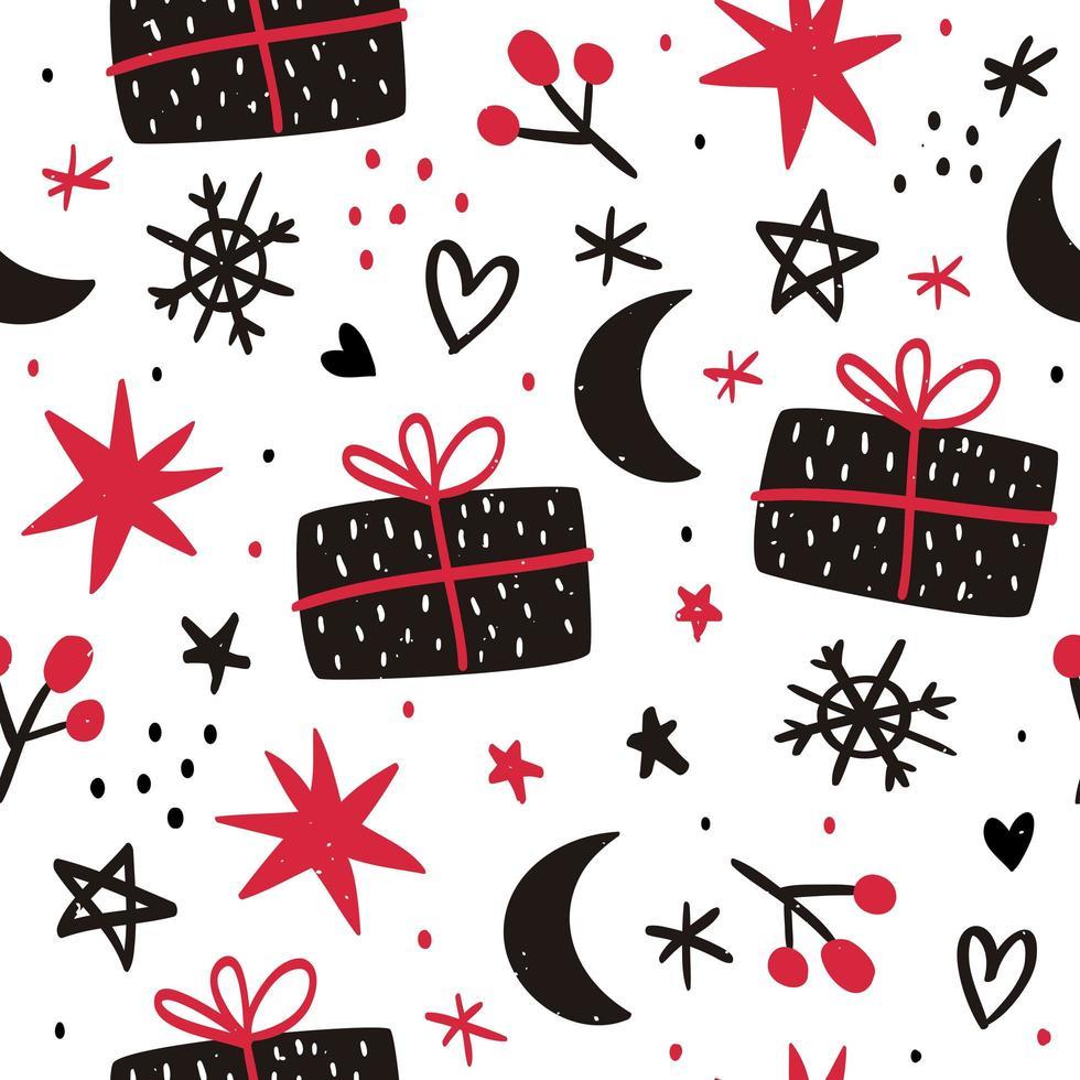 hand getekend kerst naadloze patroon vector