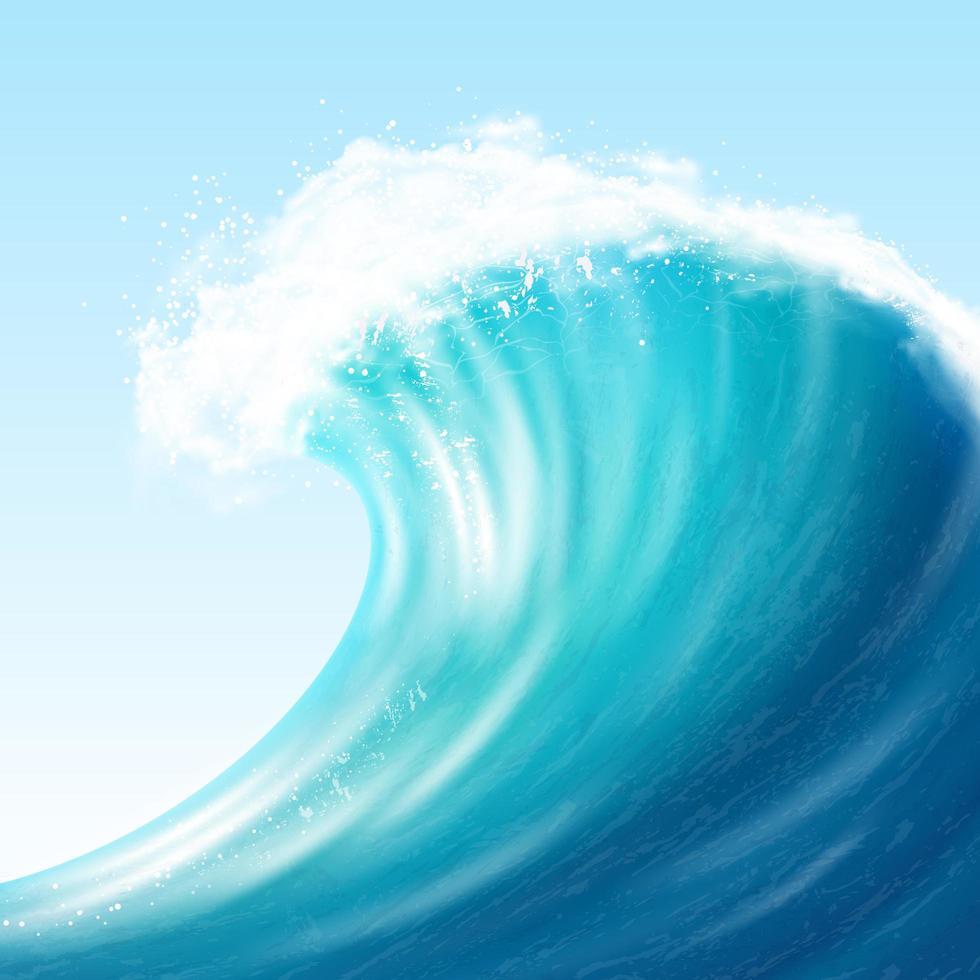 realistische oceaan grote golf vector