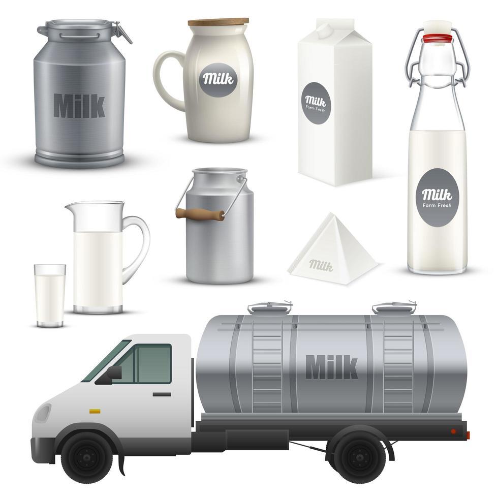set melkproducten vector