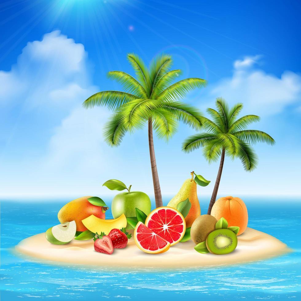 eiland met vers fruit vector